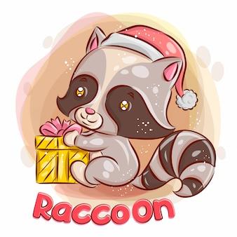 かわいいアライグマにはクリスマスプレゼントがあります。カラフルな漫画イラスト。