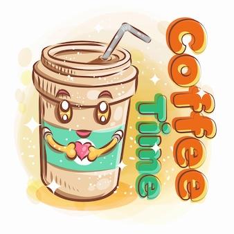 コーヒーのかわいいガラスは、幸せな笑顔でハート形を保持します。カラフルな漫画イラスト。