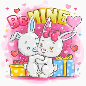 バレンタインのイラストで恋に感じているかわいいウサギのカップル