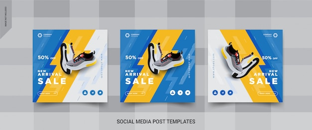 靴のソーシャルメディアの投稿テンプレートデザインのセット