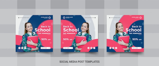 学校のソーシャルメディア投稿テンプレートデザインのセット