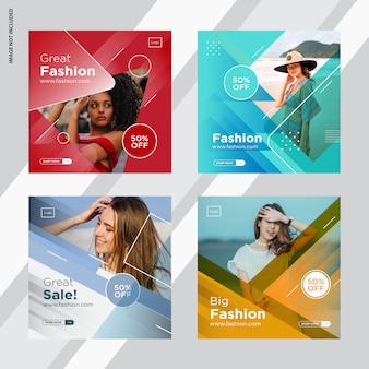 ファッションインスタ投稿、ソーシャルメディア投稿デザイン