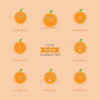 かわいい絵文字、オレンジ色の果物の文字ロゴとフラットスタイルのアイコン