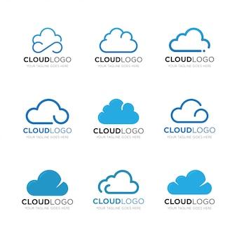 Установить облако логотип векторные иллюстрации