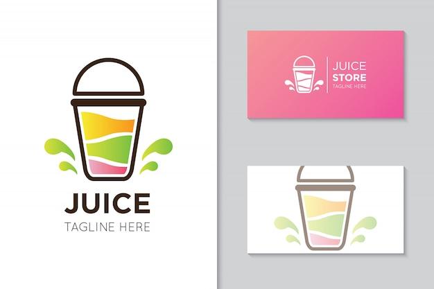ジュースのロゴと名刺のテンプレート