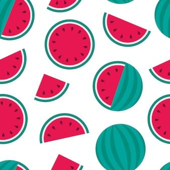スイカのシームレスパターン、フラットスタイルの夏のフルーツパーティー