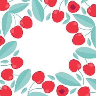 Летний шаблон вишни. продажа плакатов в плоском стиле.
