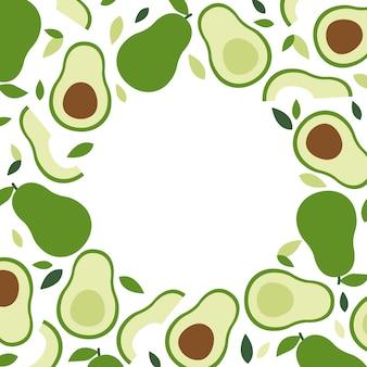 ケトとビーガンダイエット、アボカドフレームの背景、トレンディな植物、フラットスタイルのベクトル。