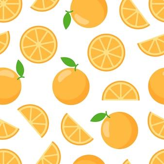 オレンジ、オーガニックの甘いデザートのシームレスパターン。