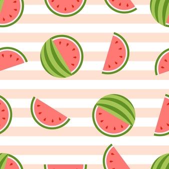 スイカのシームレスな背景。健康的な新鮮な果物
