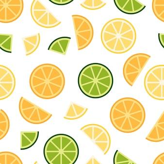 グリーンライム、オレンジ、レモンのシームレスパターン
