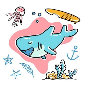 かわいい手描きのサメの海中水中ベクトルイラスト