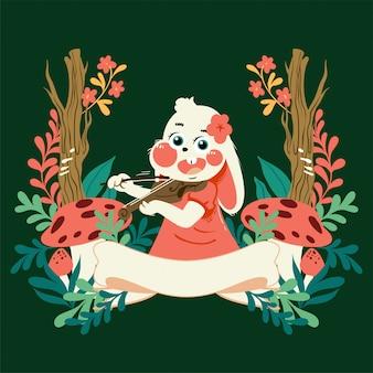 バイオリンを弾く花のフレームと手描きのベクトルかわいい漫画のウサギ