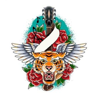 ギターの翼とバラのイラストが手描きのカラフルな虎のタトゥー