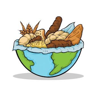 手描きイラストパン世界食の日