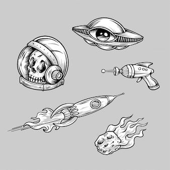 レトロなエイリアンスペースタトゥーの手描きイラスト