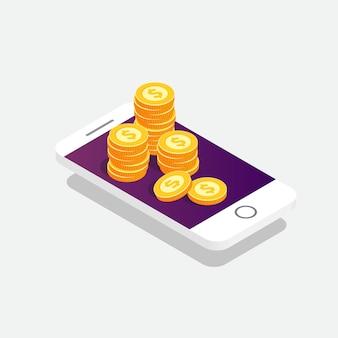 ベクトル等尺性スマートフォンと金貨。事業コンセプトオンライン支払い