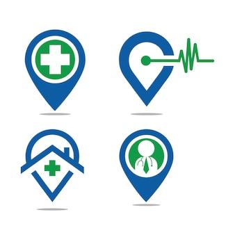Здравоохранение и пин-медицинский значок логотип