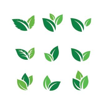 グリーンリーフロゴデザインのインスピレーションベクトルアイコンのセット
