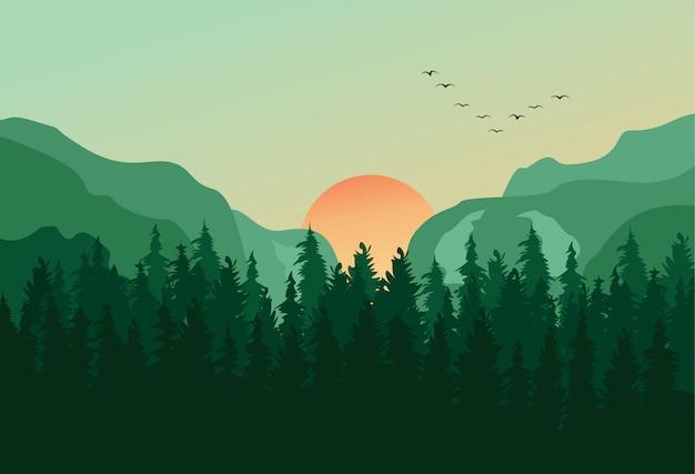 松林のパノラマ風景の背景