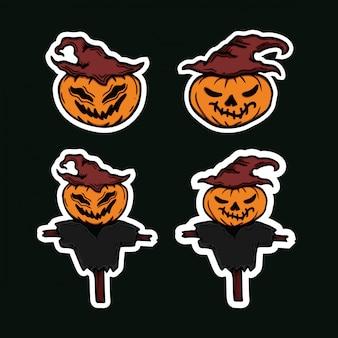 Набор страшных тыкв хэллоуин персонажа