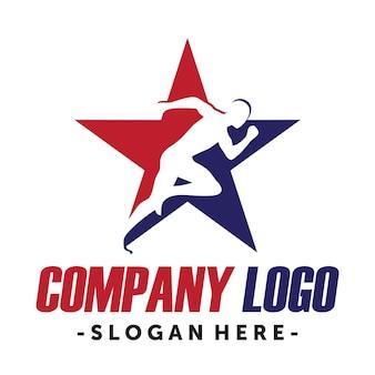 ランニングとマラソンロゴ