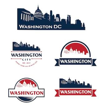 Вашингтон, сша, горизонт логотип, городской пейзаж и достопримечательности