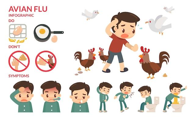 Птичий грипп инфографический.
