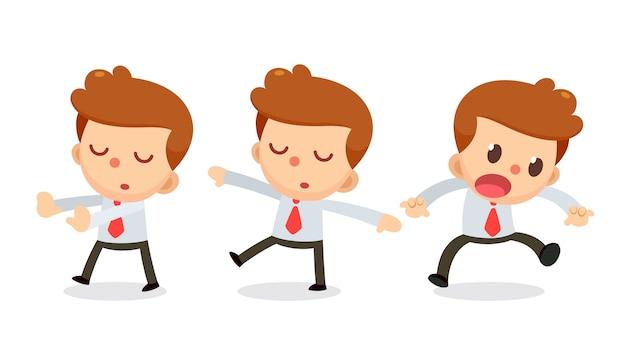Набор символов бизнесмена в действиях.