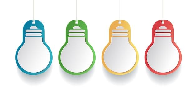 白い背景に紙のスタイルの色付き電球のタグ。