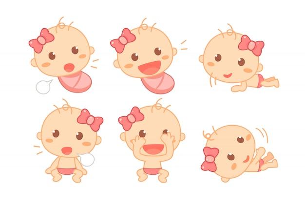 ピンクのリボンのマイルストーンとかわいい赤ちゃん女の子。