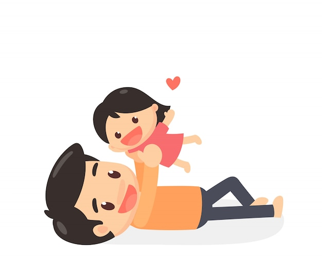 父と娘がベッドの上で遊んで
