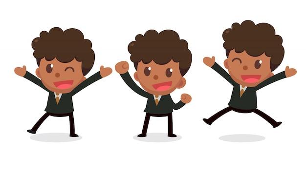 Набор крошечный бизнесмен персонажа в действиях. рад и счастлив.
