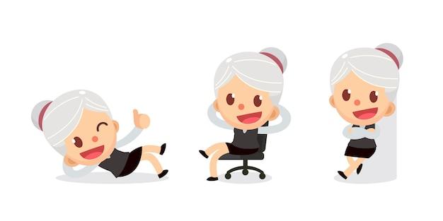 アクションで小さな実業家文字のセットです。白髪の女性。リラックスタイム。