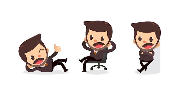 アクションの小さなビジネスマンキャラクターのセット