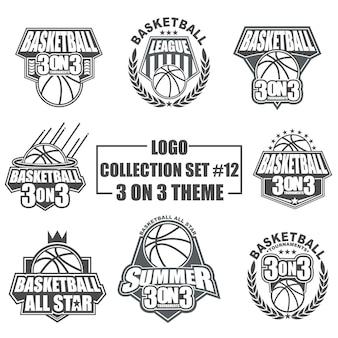 バスケットボールスポーツ用のテンプレートロゴコレクションセット