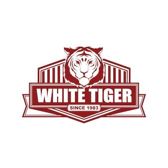 Вектор винтажный стиль логотипа дизайн шаблона с тигром