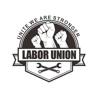 ベクトルのロゴ、バッジ、エンブレム、労働組合のシンボルデザイン