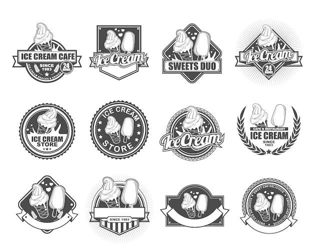 アイスクリームカフェのベクトルバッジデザインコレクションセット
