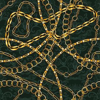 ゴールデンチェーンビンテージジュエリーとのシームレスなパターン。ファッションアートデザインのゴールドアクセサリー。装飾的なトレンディ。