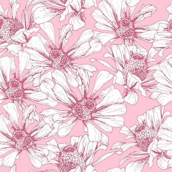 ロマンチックな壁紙デザインのピンクのシームレスパターン