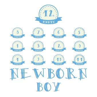 写真用のリボン付きの毎月のステッカー。赤ちゃんお誕生日おめでとうデザインの少年ラベル
