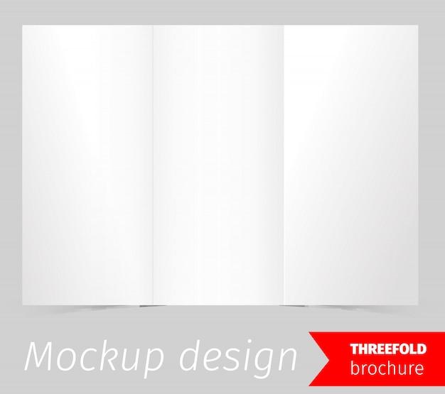 三つ折りパンフレットモックアップデザイン