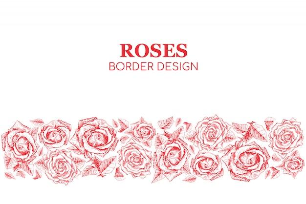 Красные розы бесшовные дизайн бордюра