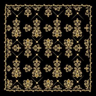 ゴールドバンダナシルクスカーフ。豪華な金色のデザイン