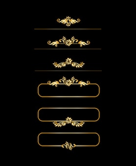 黄金の書道のデザイン要素です。ゴールドメニューと招待状の境界線、フレーム、仕切り、ページ装飾。