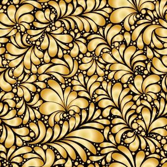 ダマスクティアドロップゴールド飾り、シームレスなパターン