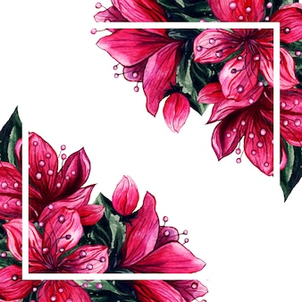 水彩花ピンクの花びらフレーム