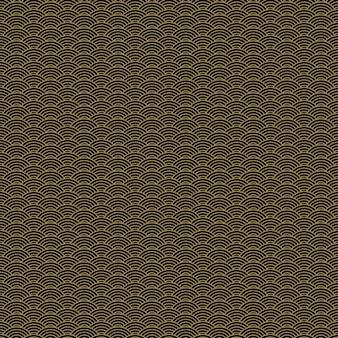 繊維産業、ファブリックのデザインのための古典的なアジアの黄金と黒の鱗片シームレスパターン。
