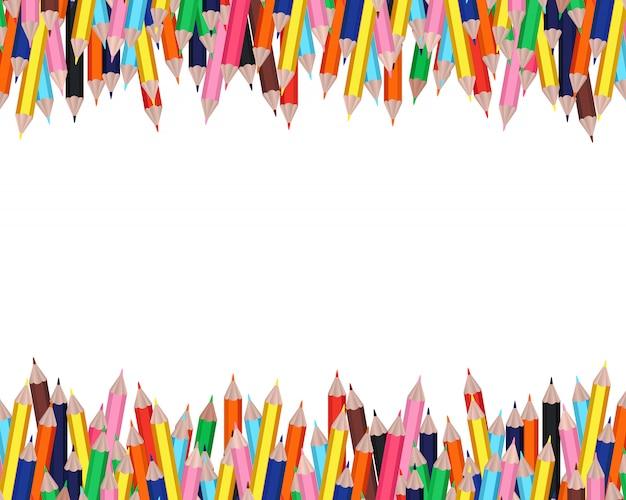 白地にカラフルな鉛筆フレーム